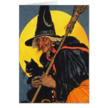 Vintage Witch with black cat Greeting Cards