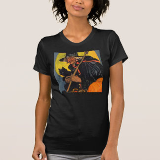 Vintage Witch with black cat Tee Shirt