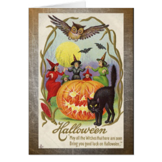 Vintage Witches and Pumpkin Halloween Card