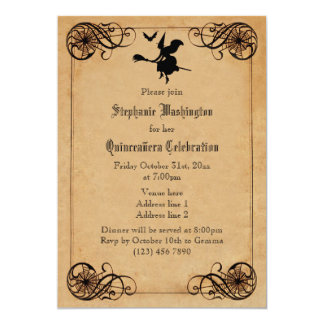 Vintage Witches Ball Quinceañera Double Sided Custom Invites