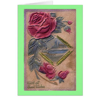 Vintage With all Good Wishes Greeting Card