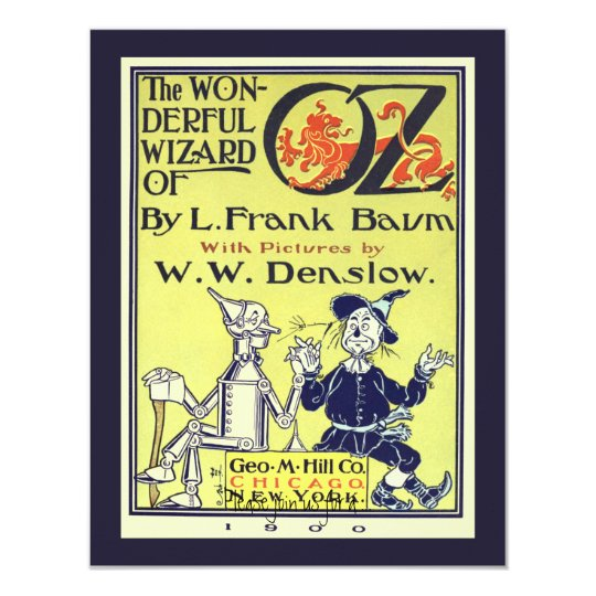 Vintage Book Cover Invitations ~ Vintage wizard of oz book cover art birthday party card