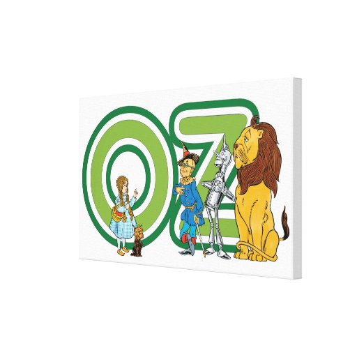 Vintage Wizard of Oz Characters and Letters Gallery Wrap Canvas