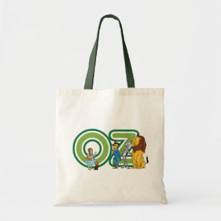 Vintage Wizard of Oz Characters and Text Letters Budget Tote Bag