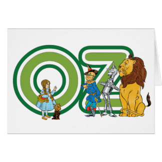 Vintage Wizard of Oz Characters and Text Letters Greeting Card