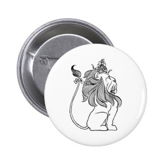 Vintage Wizard of Oz, Cowardly Lion with Crown 6 Cm Round Badge