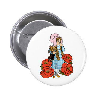 Vintage Wizard of Oz, Dorothy, Red Poppy Flowers 6 Cm Round Badge