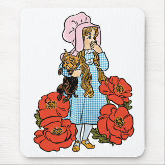 Vintage Wizard of Oz, Dorothy, Red Poppy Flowers Mouse Pads