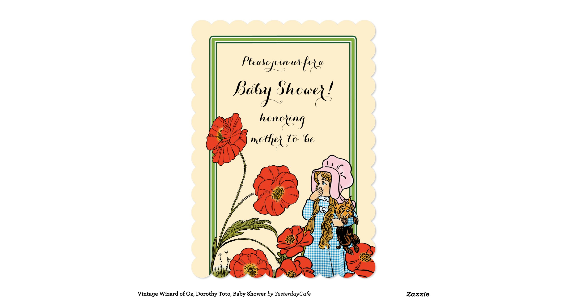 vintage wizard of oz dorothy toto baby shower 13 cm x 18 cm