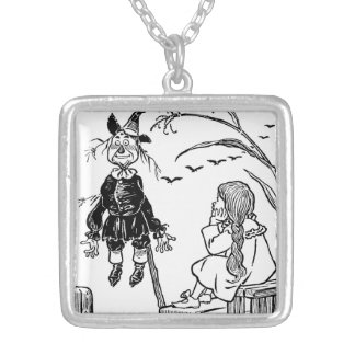Vintage Wizard of Oz, Dorothy Toto Meet Scarecrow Silver Plated Necklace