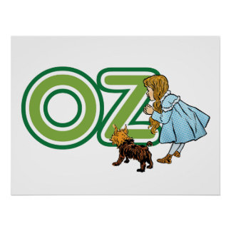 Vintage Wizard of Oz Dorothy Toto with BIG Letters Poster