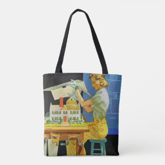 Vintage Woman Architect Miniature House Blueprints Tote Bag