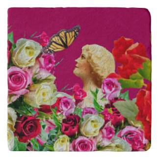 Vintage Woman Butterfly Floral Pink Trivet