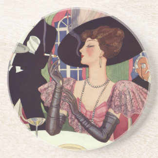 Vintage Woman Drinking Champagne Smoking Cigarette Coasters