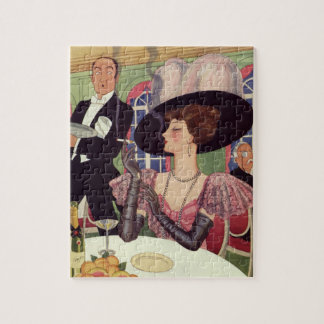 Vintage Woman Drinking Champagne Smoking Cigarette Jigsaw Puzzle