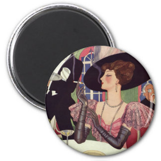 Vintage Woman Drinking Champagne Smoking Cigarette Magnets