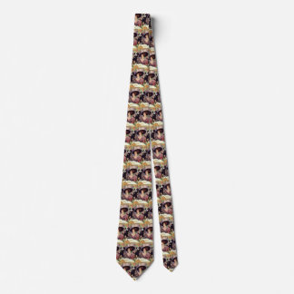 Vintage Woman Drinking Champagne Smoking Cigarette Tie