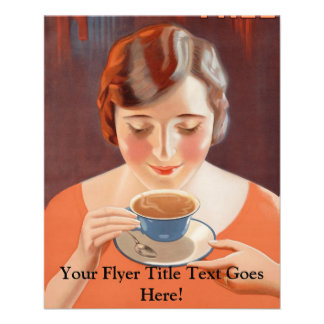 Vintage Woman Drinking Tea Painting Ad 11.5 Cm X 14 Cm Flyer