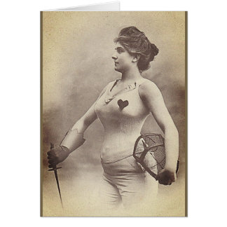 Vintage Woman Fencer Note Card