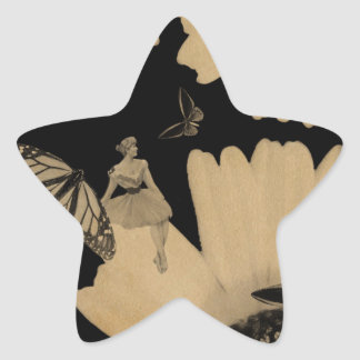 Vintage Woman Flower Butterfly Grunge Star Sticker