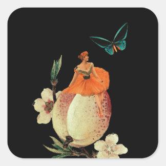 Vintage Woman Flower Dark Grunge Square Sticker