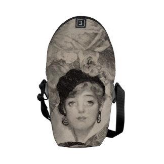 Vintage Woman Flower Garden Grunge Commuter Bags