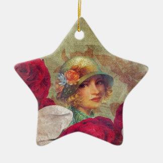 Vintage Woman Flower Rose Grunge Ceramic Star Decoration