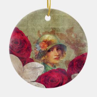 Vintage Woman Flower Rose Grunge Round Ceramic Decoration