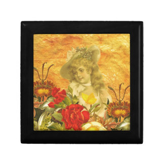 Vintage Woman Flowers Small Square Gift Box
