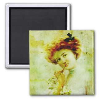 Vintage woman in thought magnet