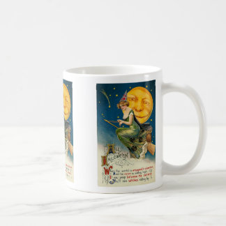 Vintage Woman On Broomstick Mug