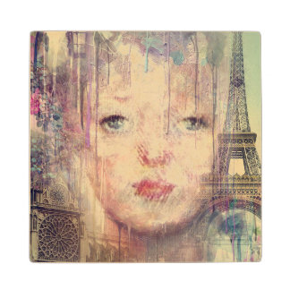 Vintage Woman Paris Paint Dripping Maple Wood Coaster