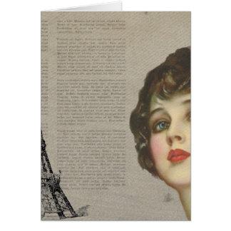 Vintage Woman Paris Rose Card