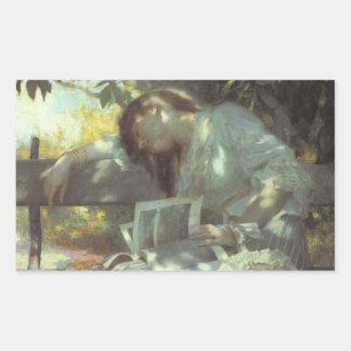 Vintage Woman Reading Rectangular Sticker