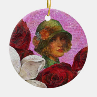 Vintage Woman Rose Flowers Round Ceramic Decoration