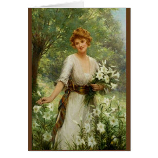 Vintage Woman Standing In the In Spring Flowers Greeting Card
