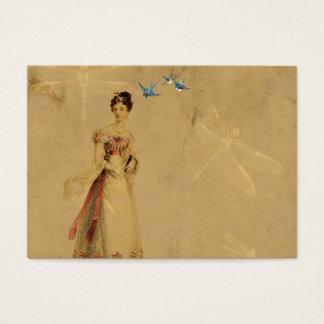 Vintage Woman with Birds and Dragonflies Business Card