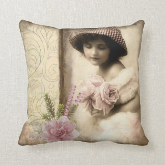 Vintage Woman with Flowers Throw Pillow (A)