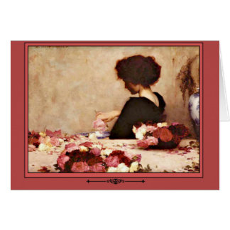Vintage Woman with Pink and Red Roses Greeting Card