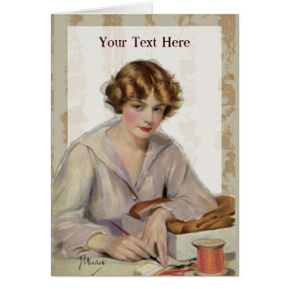 Vintage Woman Writing Letter from 1918 Card