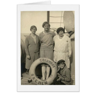 Vintage Women on Ocean Liner Bon Voyage Card