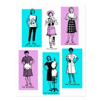 Vintage Women Woman Sixties Occupations Suburbs Postcard