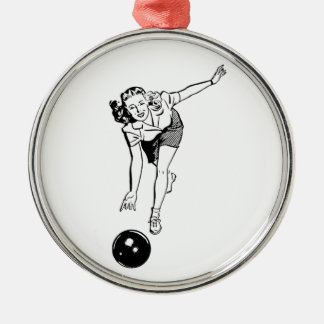 Vintage Women's Bowling Silver-Colored Round Decoration