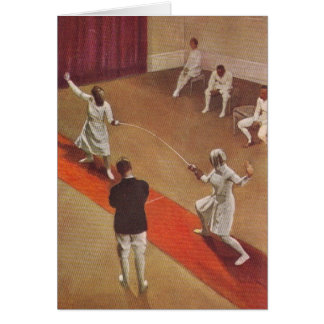 Vintage Women's Foil Fencing Bout Greeting Card