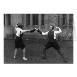 Vintage Women's Foil Fencing Note Card