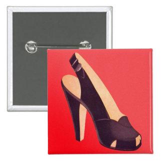 Vintage Women's High Heels Shoe 15 Cm Square Badge