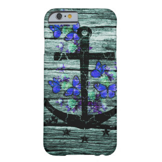 Vintage Wood & Black Anchor With Blue Butterflies Barely There iPhone 6 Case