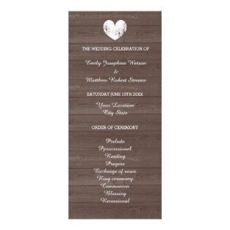 Vintage wood grain country chic wedding program rack cards