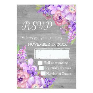 Vintage Wood Purple Floral Wedding RSVP Card