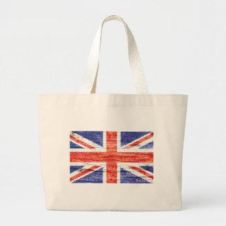 Vintage Wood Union Jack British(UK) Flag Jumbo Tote Bag